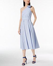 Calvin Klein Cotton Striped One-Shoulder Midi Dress
