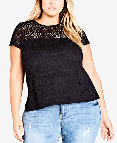 City Chic Trendy Plus Size Lace Cap-Sleeve Top