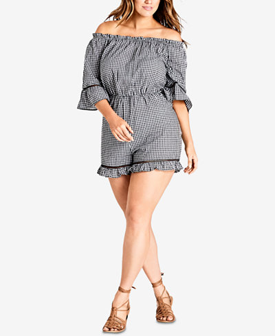 City Chic Trendy Plus Size Off-The-Shoulder Gingham Romper