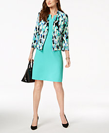 Kasper Printed Blazer & V-Neck Sheath Dress