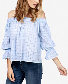 Lucky Brand Cotton Off-The-Shoulder Eyelet Top