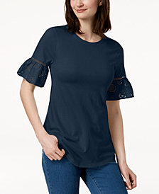 Charter Club Petite Eyelet-Trim T-Shirt, Created for Macy's