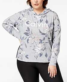 Calvin Klein Performance Plus Size Floral-Print Cropped Hoodie