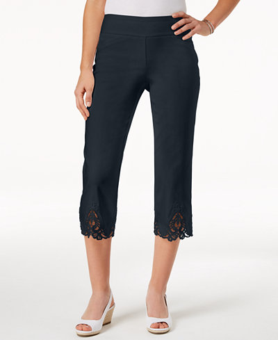 Charter Club Cambridge Crochet-Hem Capri Pants, Created for Macy's