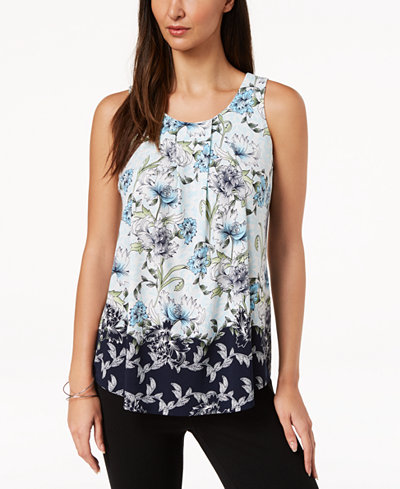 Charter Club Sleeveless Floral-Print Top, Created for Macy's