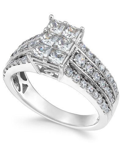 Diamond Princess Cluster Ring (1-1/2 ct. t.w.) in 14k White Gold