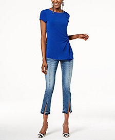 I.N.C. Asymmetrical Twist-Front Top & Cropped Jeans, Created for Macy's