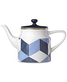 Lenox Luca Blue Azzurro Colorblock Teapot