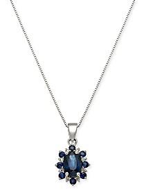 "Sapphire (1-1/3 ct. t.w.) & Diamond Accent 18"" Pendant Necklace 14k White Gold"