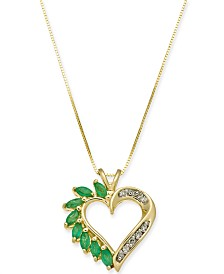 Emerald (3/4 ct. t.w.) & Diamond Accent Heart Pendant Necklace in 14k Gold