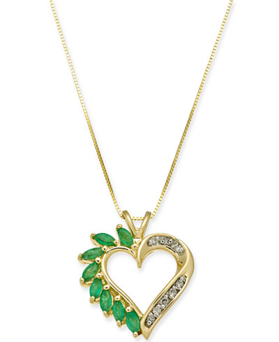 Emerald 34 ct tw diamond accent heart pendant necklace in emerald 34 ct tw diamond accent heart pendant necklace in aloadofball