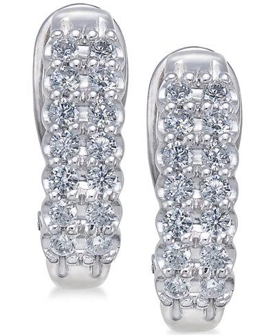Diamond Hoop Earrings (1 ct. t.w.) in 10k White Gold & Yellow Gold
