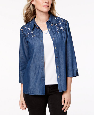 Alfred Dunner Sun City Embellished Layered-Look Shirt