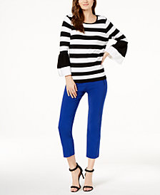 I.N.C. Striped Poplin-Sleeve Sweater & Cropped Straight-Leg Pants, Created for Macy's