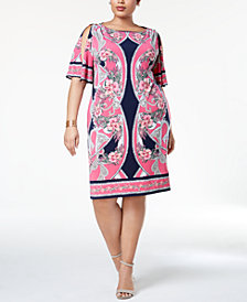 JM Collection Plus Size Flutter-Sleeve Dress, Created for Macy's