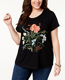 Style & Co Plus Size Cotton Embroidered T-Shirt, Created for Macy's