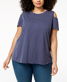 Style & Co Plus Size Cold-Shoulder T-Shirt, Created for Macy's