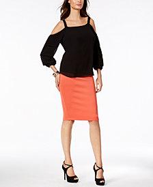 Thalia Sodi Cold-Shoulder Top & Scuba Pencil Skirt, Created for Macy's