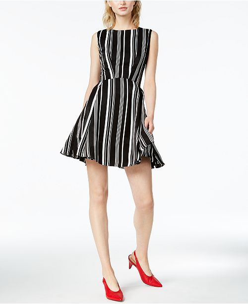 6c1edca151ec Bar III Striped Fit & Flare Dress, Created for Macy's & Reviews ...