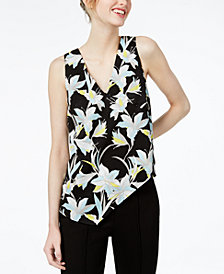Bar III Printed Asymmetrical Top, Created for Macy's