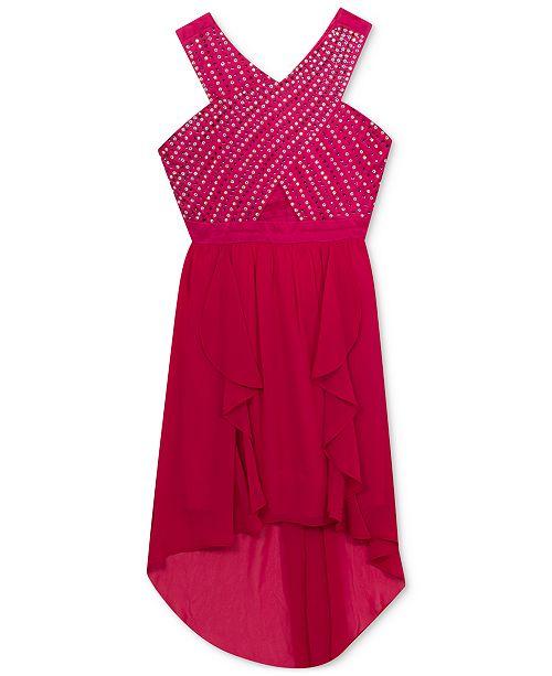 Rare Editions Embellished-Bodice High-Low Hem Dress, Big Girls