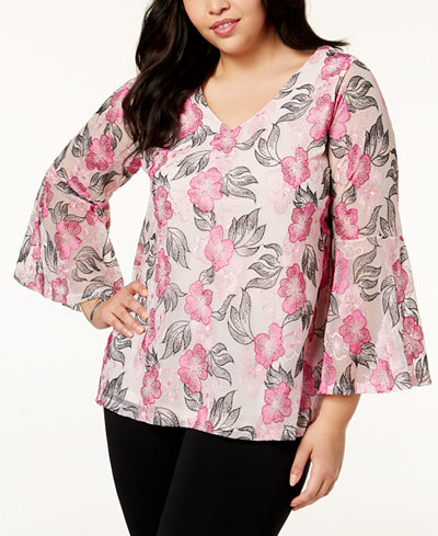 Alfani Plus Size Embroidered Top, Created for Macy's