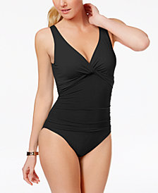 LAUREN RALPH LAUREN UNDERWIRE TUMMY CONTROL TWIST FRONT ONE-PIECE SWIMSUIT