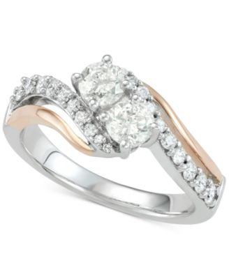 Lovely Elegant Lady White Sapphire Crystal Gold Platinum Apple Rings Jewelry