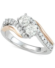 Diamond Two-Stone Two-Tone Engagement Ring (1 ct. t.w.) in 14k White & Rose Gold