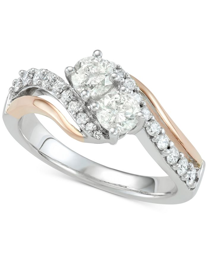 Two Souls, One Love® - Diamond Two-Stone Two-Tone Engagement Ring (1 ct. t.w.) in 14k White & Rose Gold