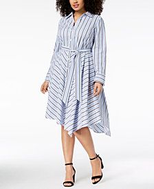 I.N.C. Plus Size Striped Asymmetrical Shirtdress, Created for Macy's