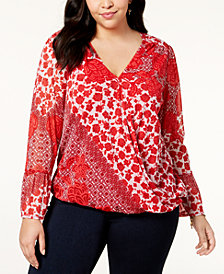 I.N.C. Plus Size Printed Surplice Top, Created for Macy's
