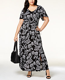 I.N.C. Plus Size Printed Flutter-Sleeve Maxi Dress, Created for Macy's