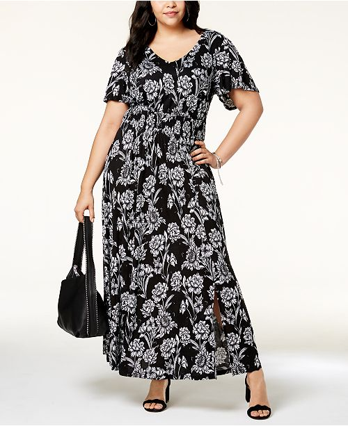 INC Plus Size Printed Flutter-Sleeve Maxi Dress, Created for Macy\'s