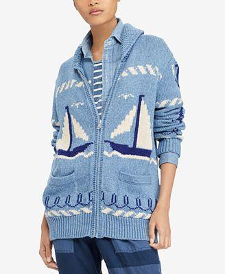 Polo Ralph Lauren Graphic Shawl Sweater Sweaters Women Macys
