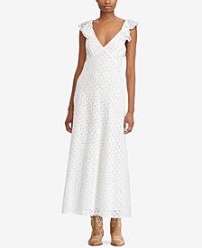 Polo Ralph Lauren Eyelet Open-Back Cotton Dress