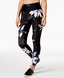 Calvin Klein Performance Purple Rain Printed High-Rise Ankle Leggings