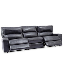 "Brant 111"" 3-Pc. Leather Power Reclining Sofa With 2 Power Recliners,  Power Headrests And USB Power Outlet"
