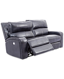 "Brant 80"" 2-Pc. Leather Power Reclining Sofa With 2 Power Recliners, Power Headrests And USB Power Outlet"
