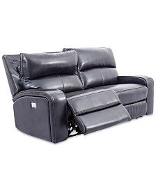 """CLOSEOUT! Brant 80"""" 2-Pc. Leather Power Reclining Sofa With 2 Power Recliners, Power Headrests And USB Power Outlet"""