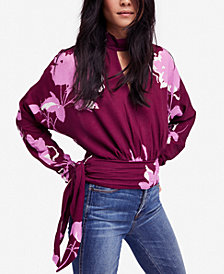 Free People Say You Love Me Floral-Print Keyhole Top