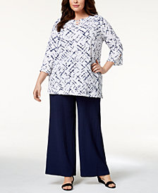 JM Collection Plus Size Crinkle Top & Wide-Leg Pants, Created for Macy's