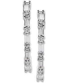 Arabella Swarovski Zirconia Linear Drop Earrings in Sterling Silver