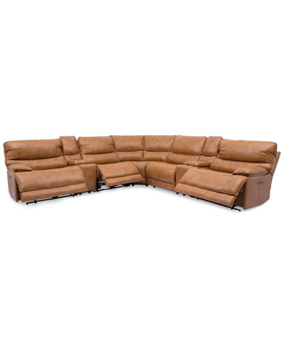 Woodyn 7-Pc. Leather Sectional Sofa With 3 Power Recliners, Power Headrests, Lumbar, 2 Consoles And USB Power Outlet