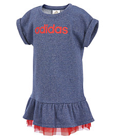 adidas Heathered Mesh-Hem Dress, Little Girls