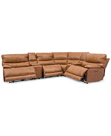 CLOSEOUT! Woodyn 6-Pc. Leather Sectional Sofa With 3 Power Recliners, Power Headrests, Lumbar, 2 Consoles And USB Power Outlet