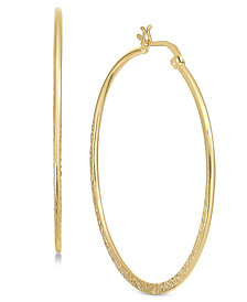 Essentials Large Gold Plated Textured Hoop Earrings