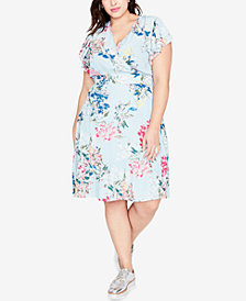 RACHEL Rachel Roy Trendy Plus Size Printed A-Line Dress