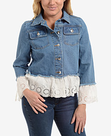 NY Collection Cotton Eyelet-Trim Denim Jacket