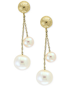 Pearl by EFFY® Cultured Freshwater Pearl (5mm & 8mm) Drop Earrings in 14k Gold